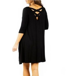Rags and Couture Dresses - Women's Cross-Back Dress with Pockets.